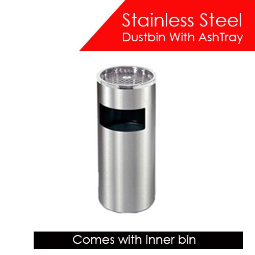 Stainless Steel Dustbin with Ashtray